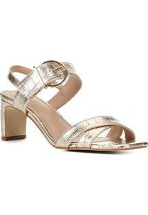 Sandália Shoestock Croco Metalizada Fivela Feminina - Feminino-Dourado