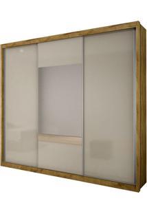 Guarda Roupa Arezzo Gold 3 Portas Com Espelho Freijó Dourado/Off White