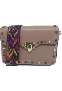 Bolsa Importada Transversal Alça Colorida Sys Fashion 8318 Rosa