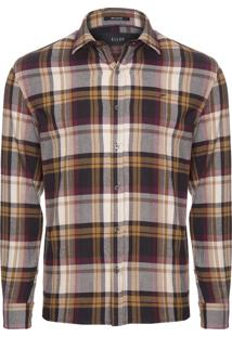 Camisa Masculina Odin Touch Check Straight Small - Marrom