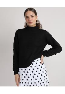 Suéter De Tricô Feminino Com Textura Manga Bufante Gola Alta Preto