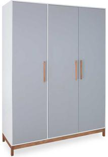 Guarda-Roupa Casal 3 Portas Roupeiro Mdf Cinza Compacto Design Moderno Moore - 154,6X53X198,5 Cm