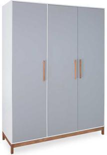 Guarda-Roupa Casal 3 Portas Roupeiro Mdf Cinza Compacto Design Moderno Moore - 154,6X53X206,5 Cm