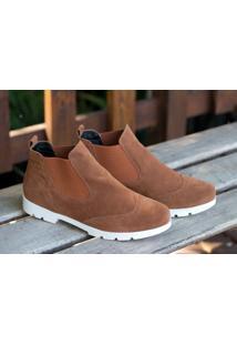 Ankle Boot Flat Form Dm Extra Camurça Marrom Dme17132950 Numeração Especial Tamanhos Grandes 41 42 43