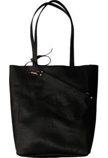 Bolsa Line Store Leather Sacola Shopper N1 Couro Preto. - Kanui