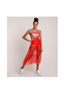 Vestido Feminino Carnaval Mindset Midi Em Tule Com Glitter Alça Fina Vermelho