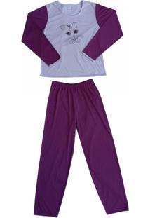 Pijama Pv Línea Gata Roxo