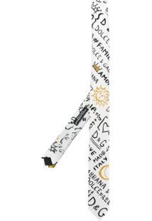 Dolce & Gabbana Gravata 'Graffiti' De Seda - Branco