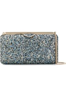 Jimmy Choo Ellipse Glitter Clutch - Azul