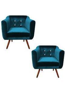 Kit 02 Poltronas Julia Cadeira Decorativa Suede Acetinado Azul Strass - Drossi
