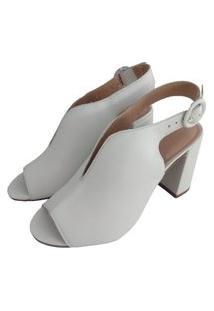 Sandália Salto Bloco Sapatoweb Couro Branco