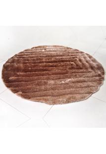 Tapete Silk Shaggy 3D Redondo 1,50M Marrom Quadri