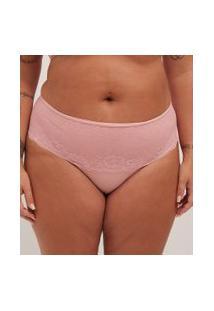 Calcinha Alta Lisa Com Renda Curve & Plus Size | Ashua Curve E Plus Size | Rosa | 48