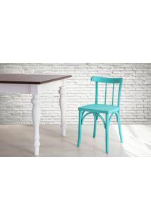 Cadeira Anatômica De Madeira Torneada Azul Justine - 43X47,5X78,5 Cm