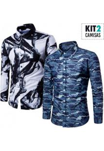 Kit 2 Camisas Masculinas Slim Estampadas - Azul Escuro E Branco/Preto