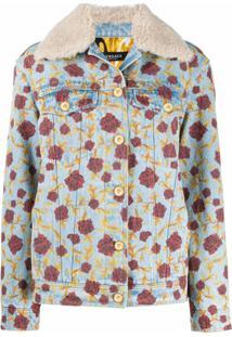 Versace Jaqueta Jeans Com Padronagem De Rosas - Azul