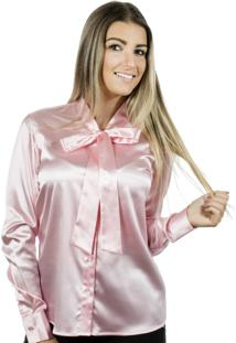 Camisa Pimenta Rosada Gola Laço Lola Rosa Claro