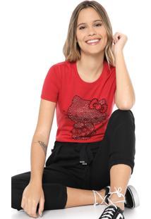 Blusa Cativa Hello Kitty Aplicações Vermelha