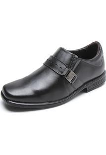 Sapato Social Couro Pegada Metal Preto