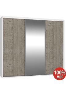 Guarda Roupa 3 Portas Com 1 Espelho 100% Mdf 1973E1 Branco/Demolição - Foscarini