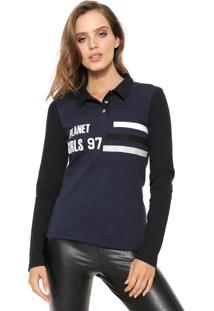 Camisa Polo Planet Girls Bordada Azul-Marinho