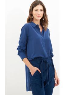 Camisa Le Lis Blanc Helena Slit Marine Seda Azul Marinho Feminina (Marine 19-3933Tcx, 48)