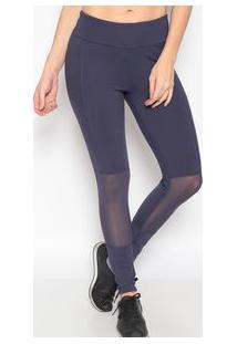 Body For Sure Legging Lisa Com Recortes Azul Marinho