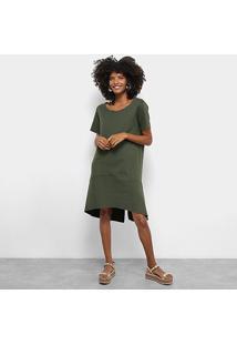 Vestido Dupla Face Cantão Com Fenda Feminino - Feminino-Preto+Verde