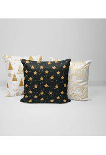 Kit 3 Capas Para Almofadas Love Decor Decorativas Merry Christmas Gold - Kanui