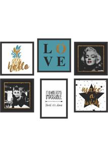 Conjunto Com 6 Quadros Decorativos Hollywood Stars Colorido