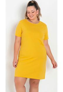 Vestido T-Shirt Amarelo Plus Size