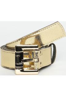 Cinto Metalizado Com Fivela- Dourado- 3X110Cm- Llança Perfume