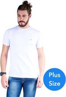 Camiseta Mister Fish Gola Careca Basic Plus Size Masculina - Masculino-Branco