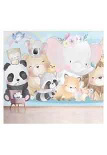 Papel De Parede Painel Infantil Animais Zoo Aquarela 6 Rolos