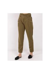 Calça De Tecido Com Cinto Feminina Verde
