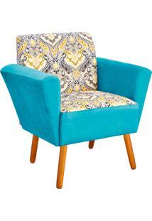 Poltrona Decorativa D'Rossi Dora Estampado D77 Com Suede Azul Turquesa.