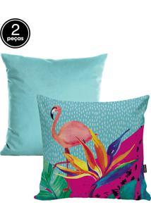 Kit Capas De Almofadas 2 Pçs Veludo 42X42Cm Flamingo Azul Stm Home