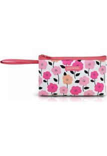 Necessaire Com Alça Tam. P Estampa Flores Jacki Design Pink Lover Salmão - Kanui