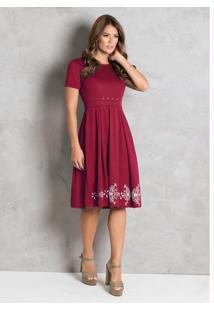 Vestido Vermelho Com Pérolas Moda Evangélica