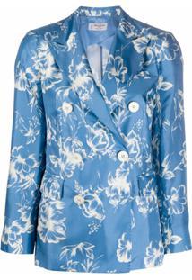 Alberto Biani Blazer Com Estampa Floral - Azul