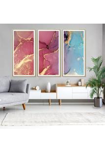 Quadros Com Moldura Chanfrada Abstratos Vermelho Com Azul Grande - Multicolorido - Dafiti