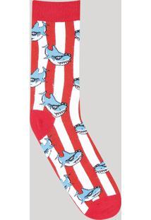 Meia Masculina Estampada De Tubarão Cano Longo Vermelha