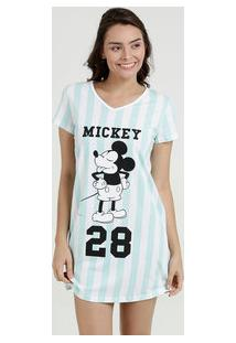 Camisola Feminina Listrada Estampa Mickey Manga Curta Disney