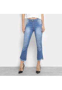 c0b9de620 ... Calça Jeans Flare Biotipo Cropped Estonada Cintura Média Feminina -  Feminino-Azul Claro