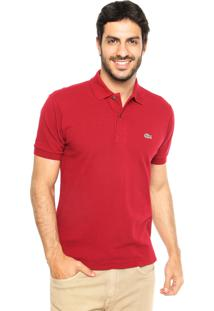 Camisa Polo Lacoste Classic Fit Vinho