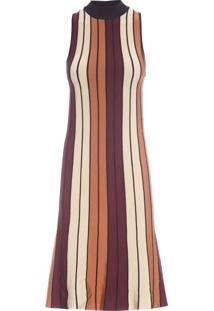 Vestido Tricolor Com Gola - Marrom