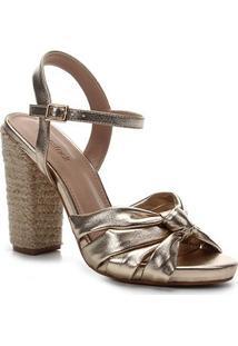Sandália Shoestock Salto Alto Tiras Nó Feminina - Feminino-Dourado