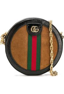 Gucci Ophidia Mini Round Shoulder Bag - Marrom