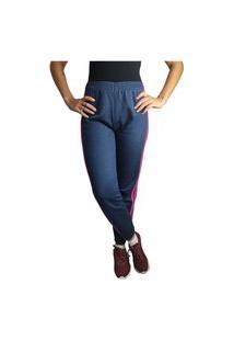 Calça Moletom Feminina Listrada Inverno Frio Adulto Azul/Pink