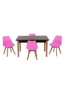 Conjunto Mesa De Jantar Luiza 135Cm Preta Com 4 Cadeiras Leda - Rosa